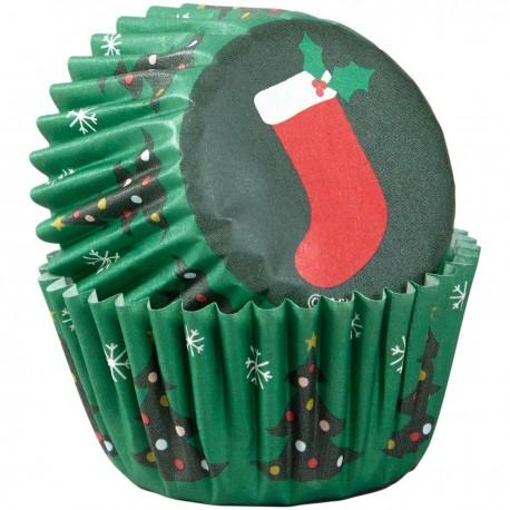 """100 mini caissettes à cupcakes """"Chaussette de Noël"""""""
