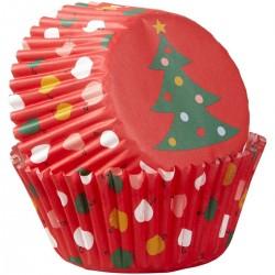 """75 caissettes à cupcakes standard """"Sapin de Noël"""""""
