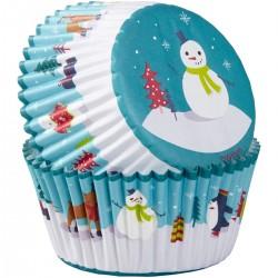 """75 caissettes à cupcakes standard """"Bonhomme de Neige"""""""