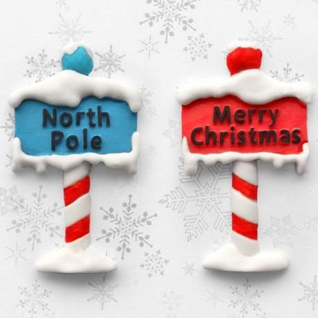 """Moule silicone """"Panneau Pôle Nord et Joyeux Noël"""""""