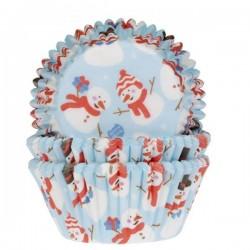 """50 caissettes à cupcakes standard """"Mon bonhomme de neige"""""""