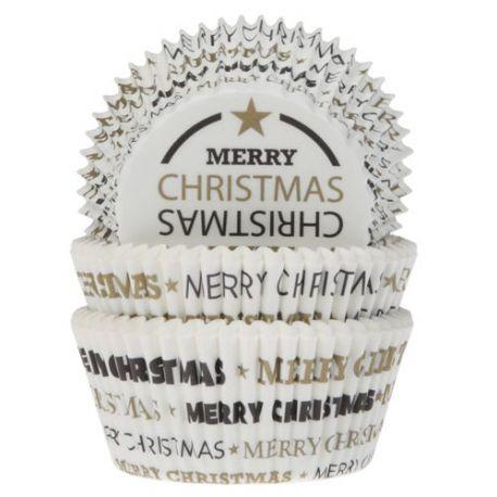 "50 caissettes à cupcakes standard ""Merry Christmas"""