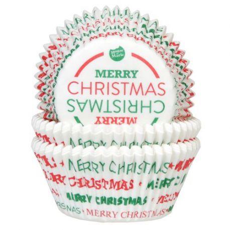 """50 caissettes à cupcakes standard """"Joyeux Noël"""""""