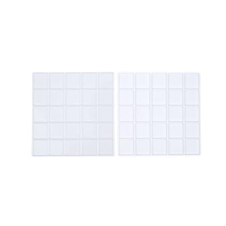 Lot de 2 supports transparents et blancs pour gâteau cubique - 25 cubes