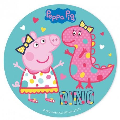 """Disque azyme """"Peppa Pig et Dino"""" - 20 cm"""