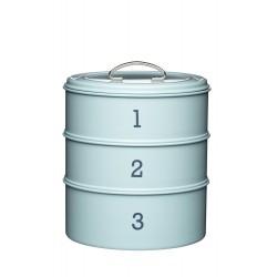 Boîte à gâteaux de 3 niveaux en métal bleue - 22 x 24 cm