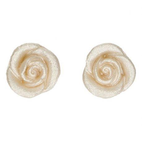 """6 décors en pâte d'amande """"Roses blanches"""""""