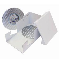 Boîte à gâteau blanche et support - 25 x 25 x 15 cm