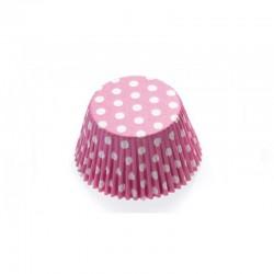 12 caissettes à cupcakes standard à pois rose