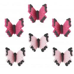 """6 décors en sucre """"Papillons roses"""""""