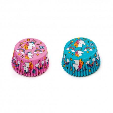 """36 caissettes à cupcakes standard """"Licorne Bleu et Rose"""""""