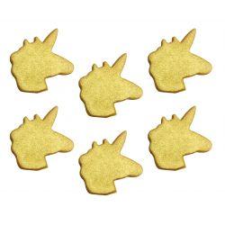 """Lot de 6 décors en sucre """"Licornes dorées"""""""