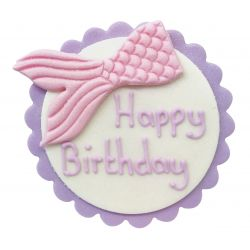 "Décor en sucre sirène rose ""Happy Birthday"""