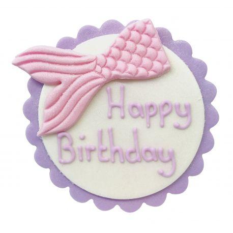 "Décor en sucre sirène rose ""Happy Birthday"""