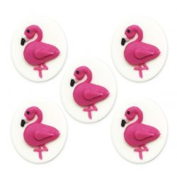 "Lot de 5 décors en sucre ""Flamants roses"""