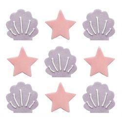 """Lot de 9 décors en sucre """"Coquillage et étoiles"""""""