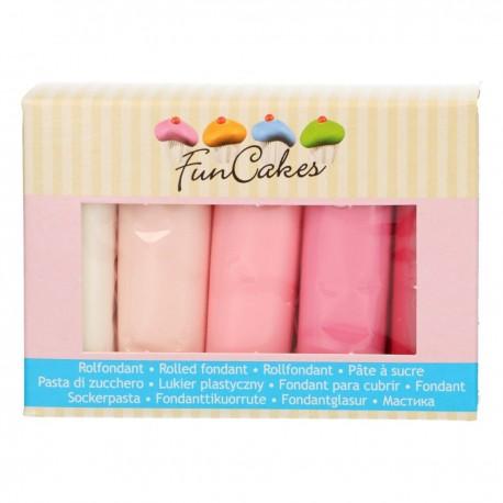 Pack de 5 pâtes à sucre - palette de rose