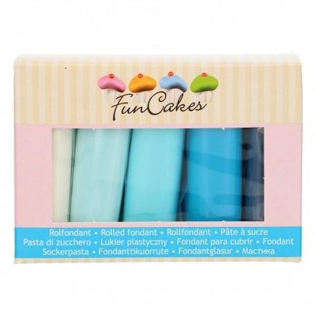 Pack de 5 pâtes à sucre - palette de bleu