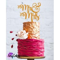 """Topper pour gâteau """"Mr & Mrs"""" - Or métallique"""
