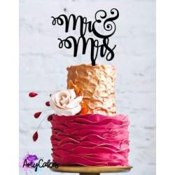 """Topper pour gâteau """"Mr & Mrs"""" - Noir"""