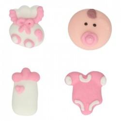 """6 décorations en sucre - """"Baby Shower rose"""""""