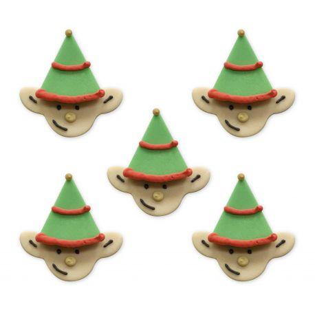 """5 décors en sucre """"Lutins de Noël"""""""