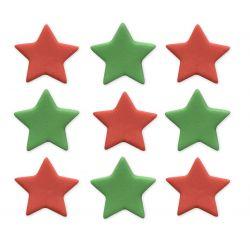 """9 décors en sucre """"Etoiles rouges et vertes"""""""