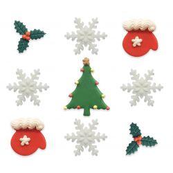 """9 décors en sucre """"Joyeux Noël"""""""