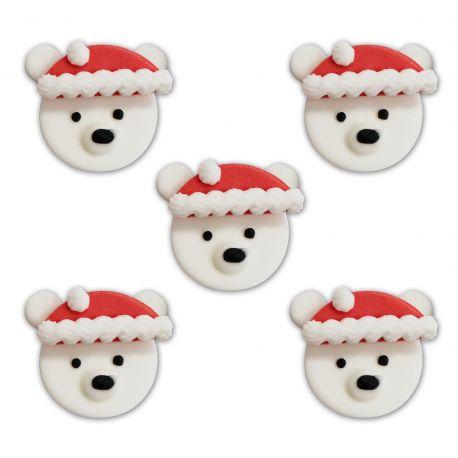 """5 décors en sucre """"Ours de Noël"""""""
