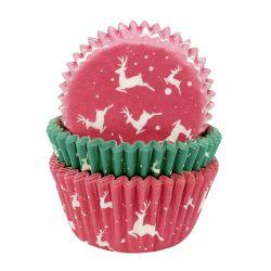 """75 caissettes à cupcakes standard """"Renne de Noël"""""""
