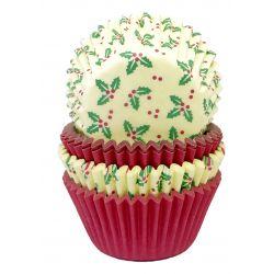 """100 caissettes à cupcakes standard """"Houx"""""""