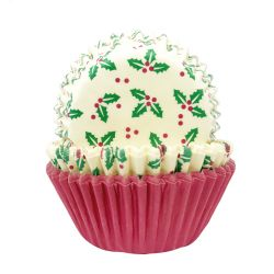 """75 caissettes à cupcakes standard """"Houx"""""""