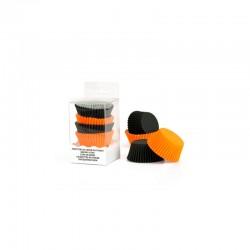 75 caissettes à cupcakes unies - Orange et noir