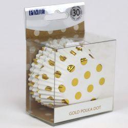 """30 caissettes à cupcakes standard en aluminium """"Blanc à pois dorés"""""""