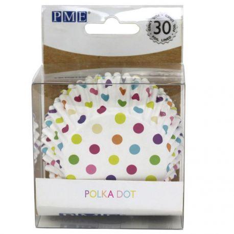 """30 caissettes à cupcakes standard """"Blanc à pois multicolors"""""""