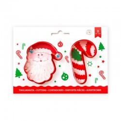 Kit de 2 emporte-pièces Canne à sucre et Père Noël
