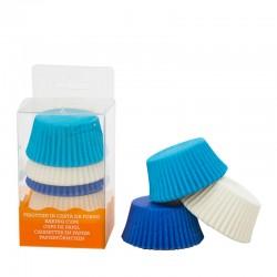 """75 caissettes à cupcakes standard """"Blanc et Bleu"""""""
