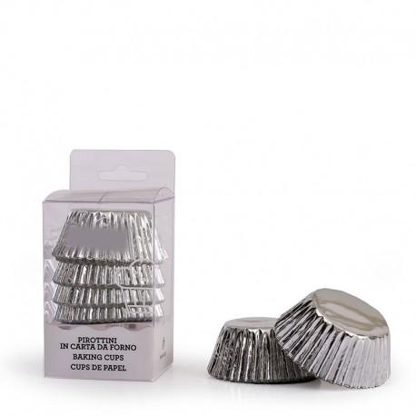 """60 caissettes à cupcakes standard unies """"Silver"""""""