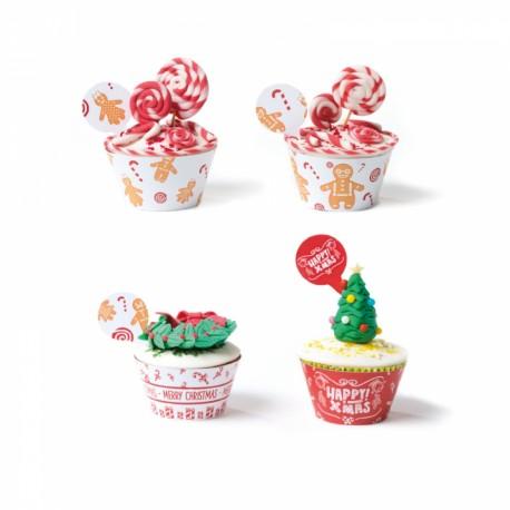 """Kit de 12 contours à cupcakes et toppers """"Merry Christmas !"""""""