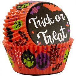 """75 caissettes à cupcakes standard """"Trick or treat"""""""