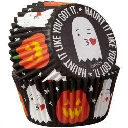 """75 caissettes à cupcakes """"Fantômes et citrouilles"""""""