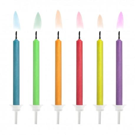 6 bougies d'anniversaire - Flammes colorées