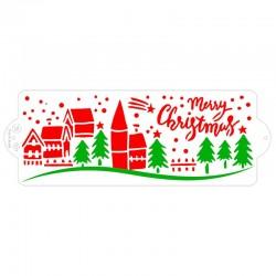 Pochoir Paysage de Noël 10 x 28 cm
