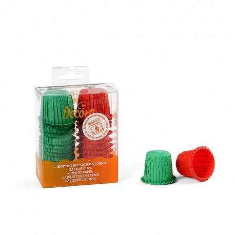 """35 mini caissettes à cupcakes """" Rouge et Vert"""""""