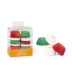 """200 mini caissettes à cupcakes unies """"Blanc, Rouge, Vert"""""""