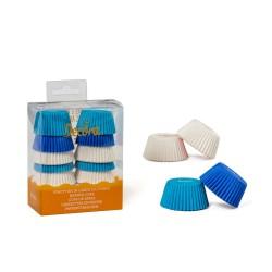"""200 mini caissettes à cupcakes unies """"Blanc, Bleu, Bleu clair"""""""