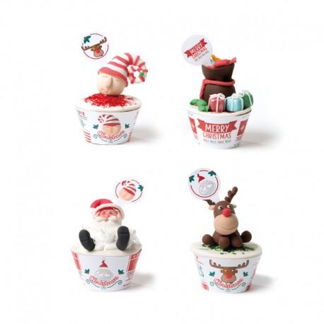 """Kit de 12 contours à cupcakes et toppers """"Joyeux Noël"""""""