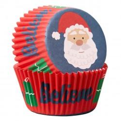 """75 caissettes à cupcakes standard """"Père Noël"""""""