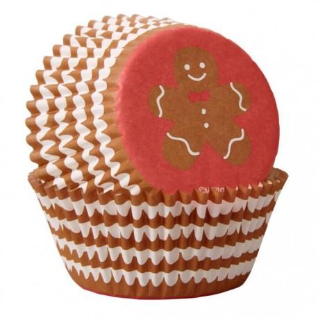 """75 caissettes à cupcakes standard """"Bonhomme en pain d'épices"""""""