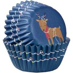 """100 mini caissettes à cupcakes """"Rennes de Noël"""""""